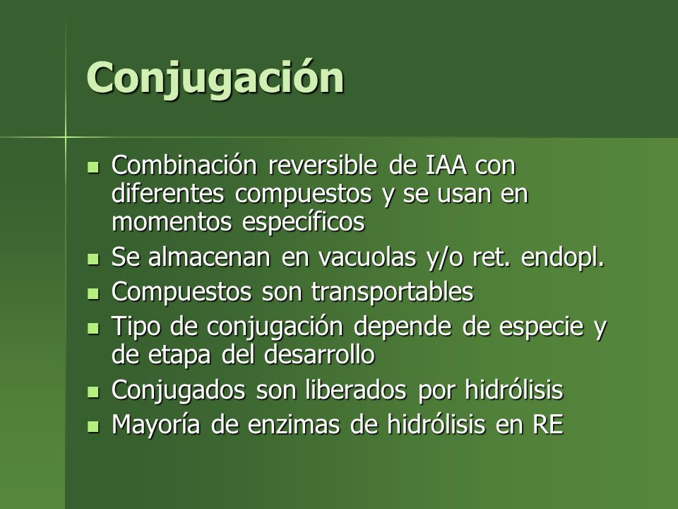 ConjugaciónCombinación reversible de IAA con diferentes compuestos y se usan en momentos específicos.
