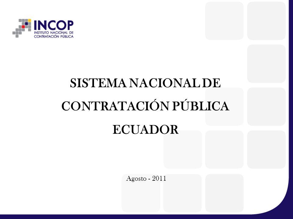 SISTEMA NACIONAL DE CONTRATACIÓN PÚBLICA ECUADOR