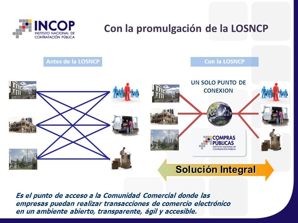 Con la promulgación de la LOSNCP UN SOLO PUNTO DE CONEXION