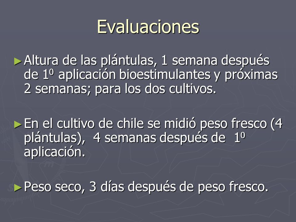 Evaluaciones Altura de las plántulas, 1 semana después de 10 aplicación bioestimulantes y próximas 2 semanas; para los dos cultivos.