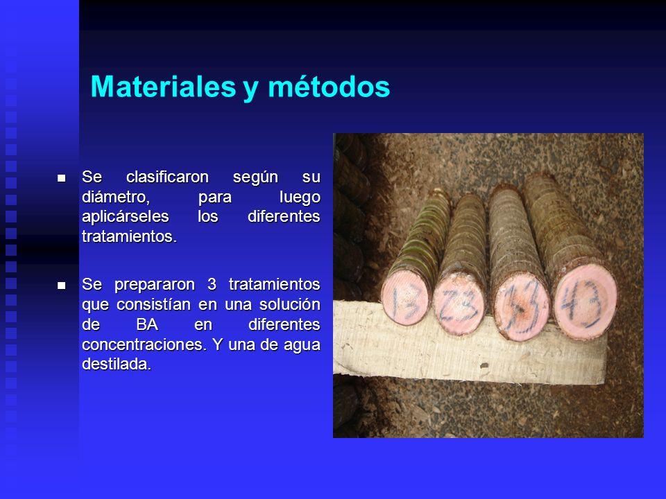 Materiales y métodosSe clasificaron según su diámetro, para luego aplicárseles los diferentes tratamientos.