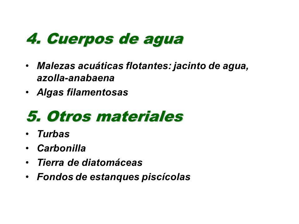 4. Cuerpos de agua 5. Otros materiales