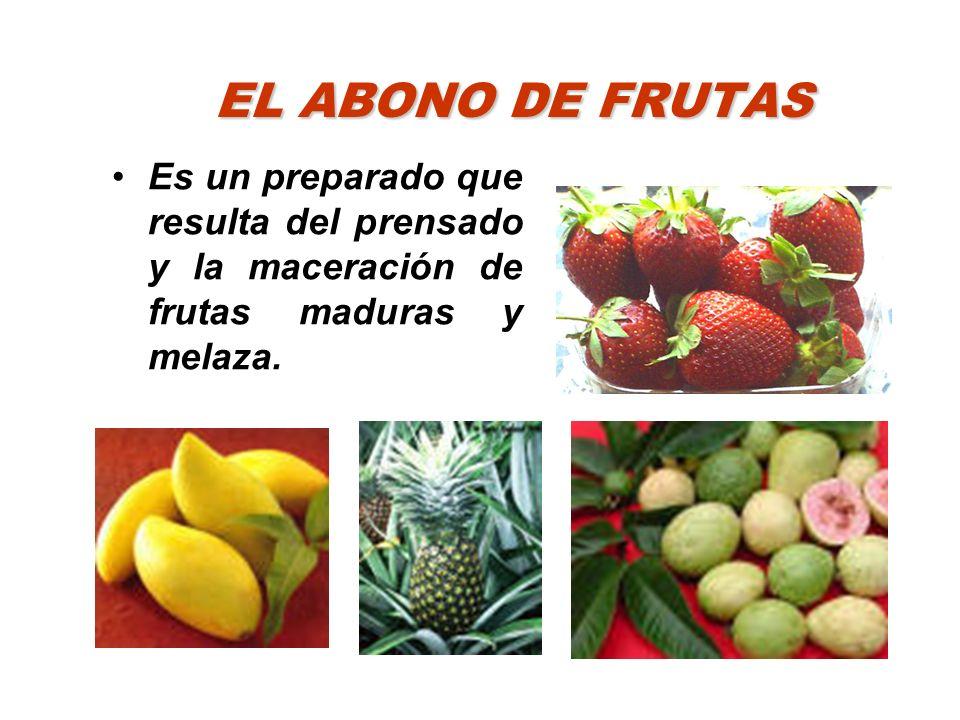EL ABONO DE FRUTAS Es un preparado que resulta del prensado y la maceración de frutas maduras y melaza.
