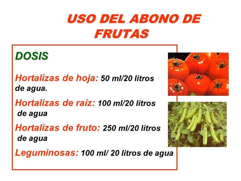 USO DEL ABONO DE FRUTAS DOSIS Hortalizas de hoja: 50 ml/20 litros