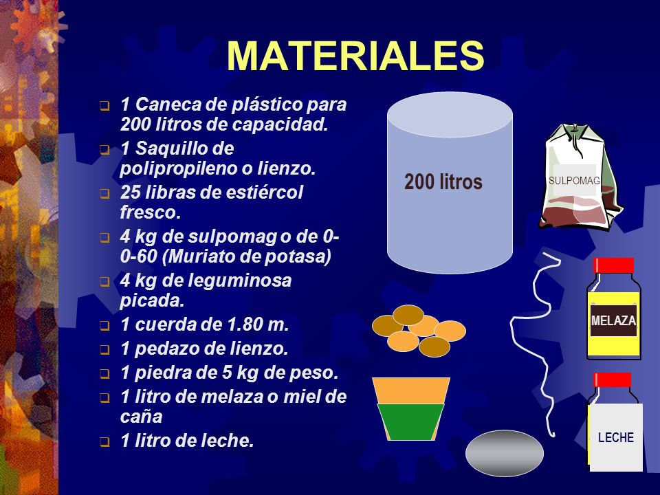 MATERIALES1 Caneca de plástico para 200 litros de capacidad. 1 Saquillo de polipropileno o lienzo. 25 libras de estiércol fresco.