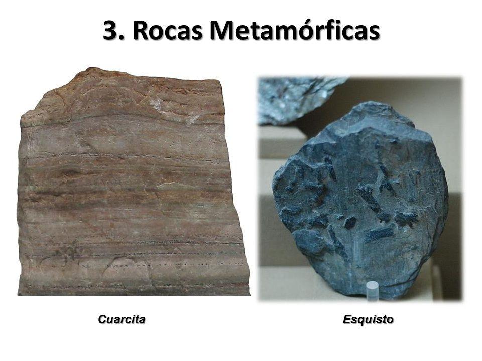 3. Rocas Metamórficas Cuarcita Esquisto