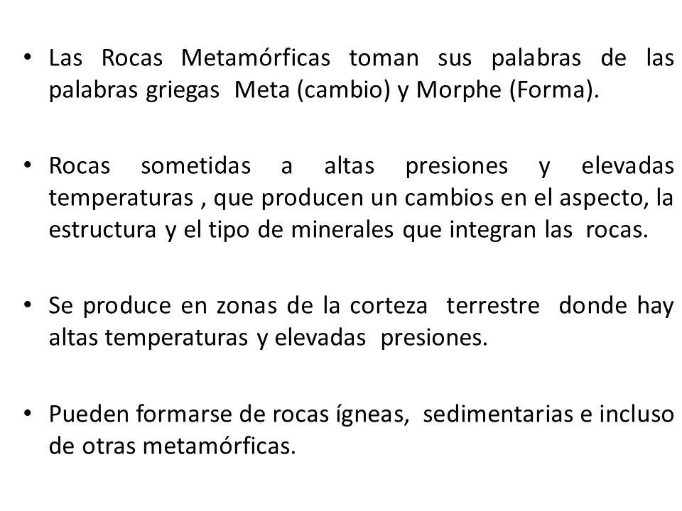 Las Rocas Metamórficas toman sus palabras de las palabras griegas Meta (cambio) y Morphe (Forma).
