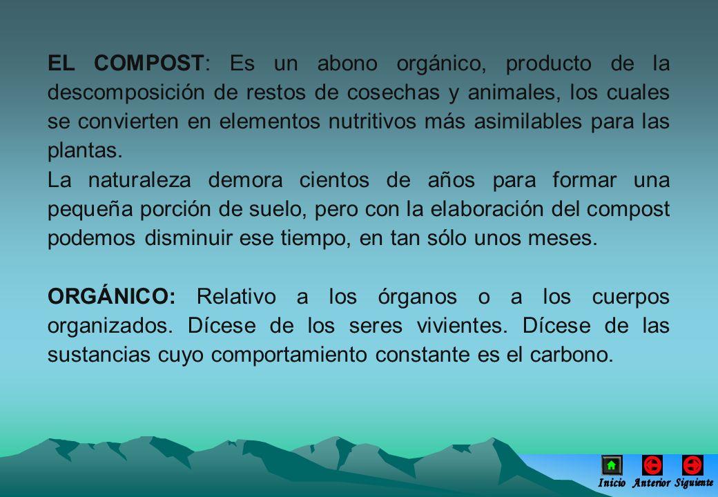 EL COMPOST: Es un abono orgánico, producto de la descomposición de restos de cosechas y animales, los cuales se convierten en elementos nutritivos más asimilables para las plantas.