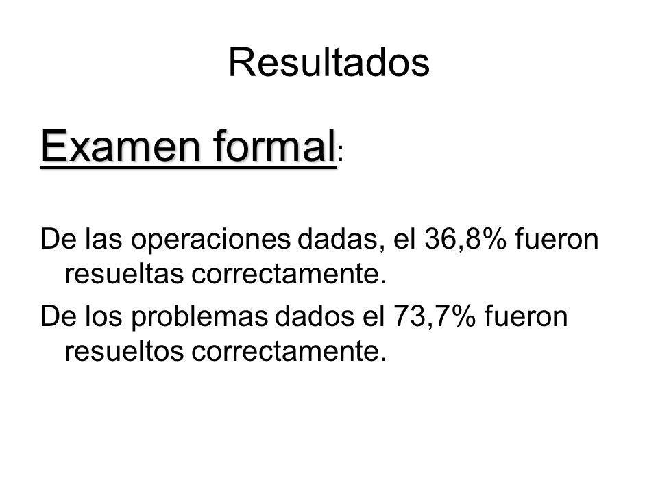 Examen formal: Resultados