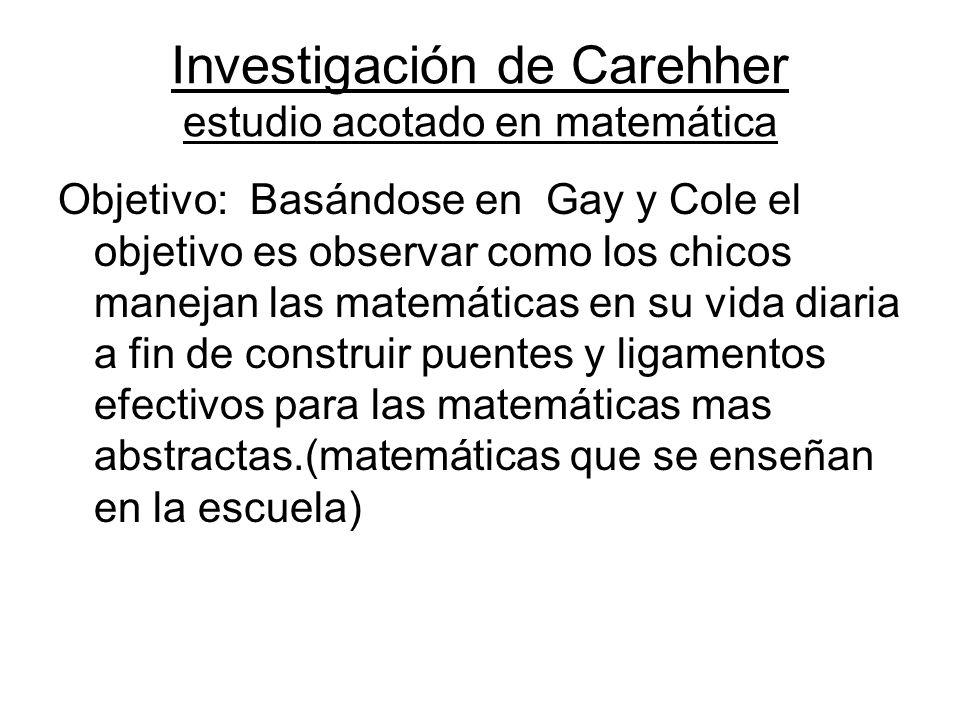 Investigación de Carehher estudio acotado en matemática