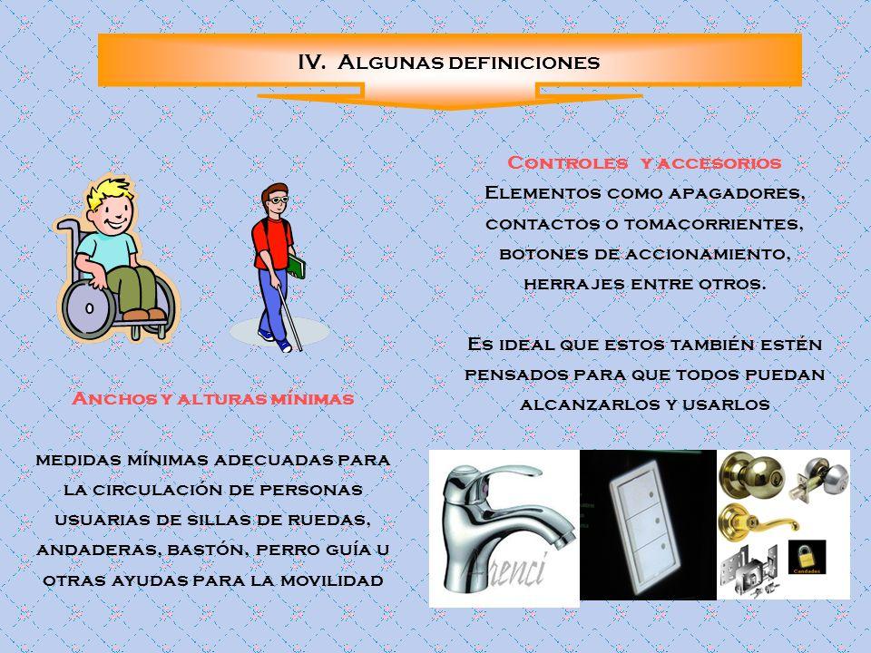 Controles y accesorios Anchos y alturas mínimas