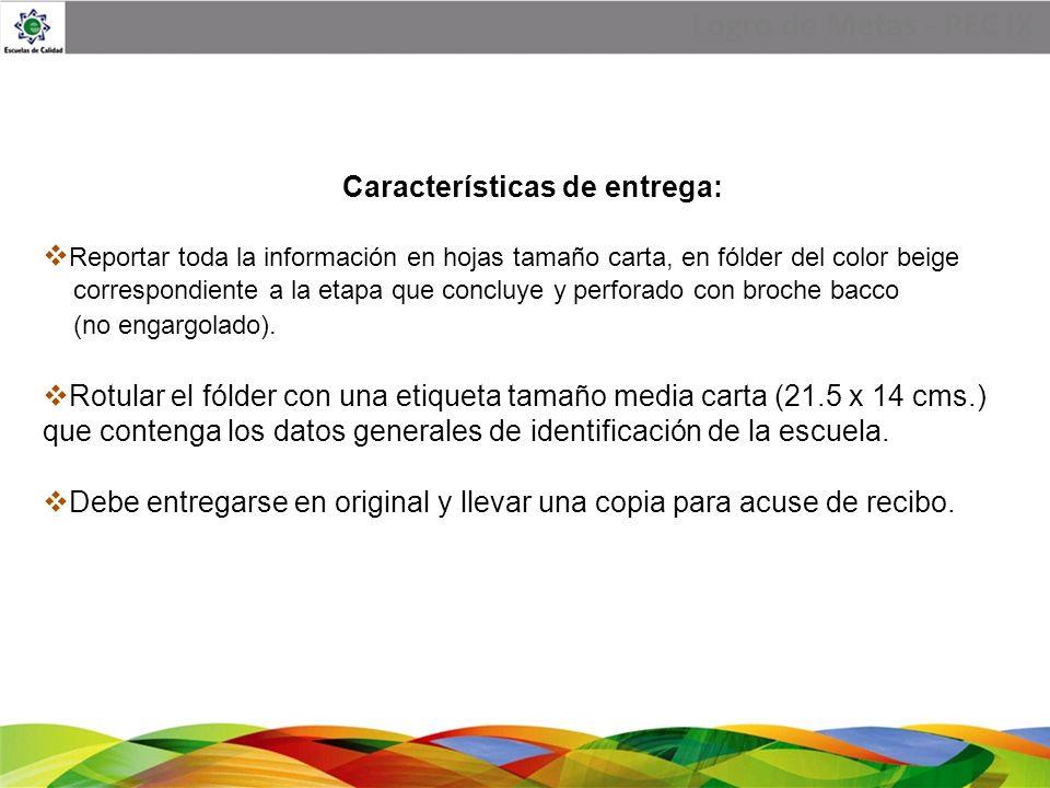 Logro de Metas - PEC IX Características de entrega: