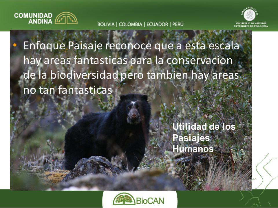 Enfoque Paisaje reconoce que a esta escala hay areas fantasticas para la conservacion de la biodiversidad pero tambien hay areas no tan fantasticas