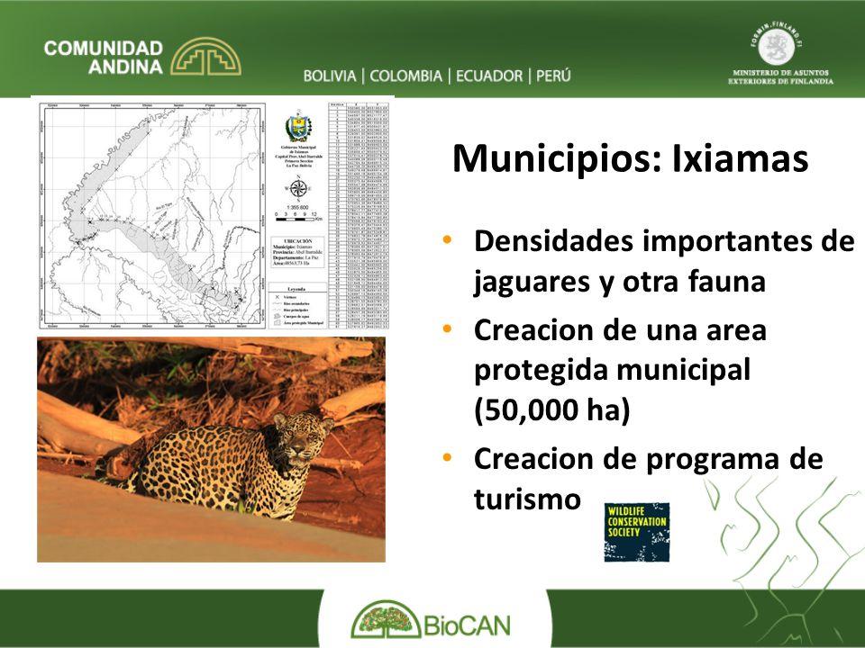 Municipios: Ixiamas Densidades importantes de jaguares y otra fauna