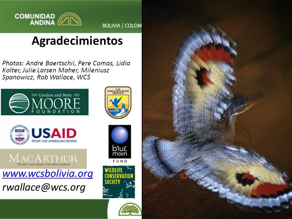 Agradecimientos www.wcsbolivia.org rwallace@wcs.org
