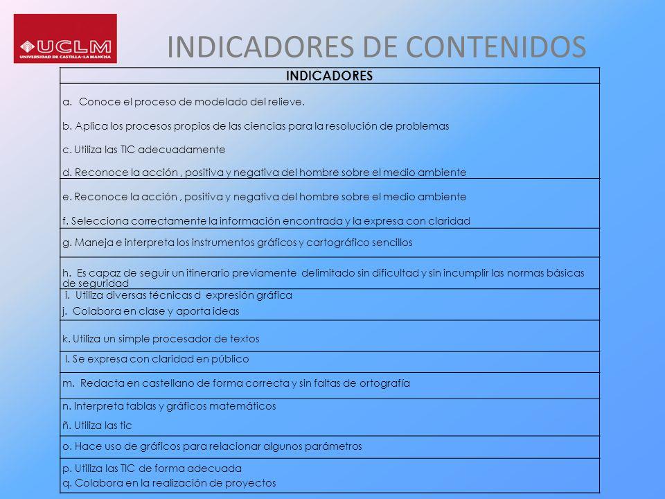 INDICADORES DE CONTENIDOS