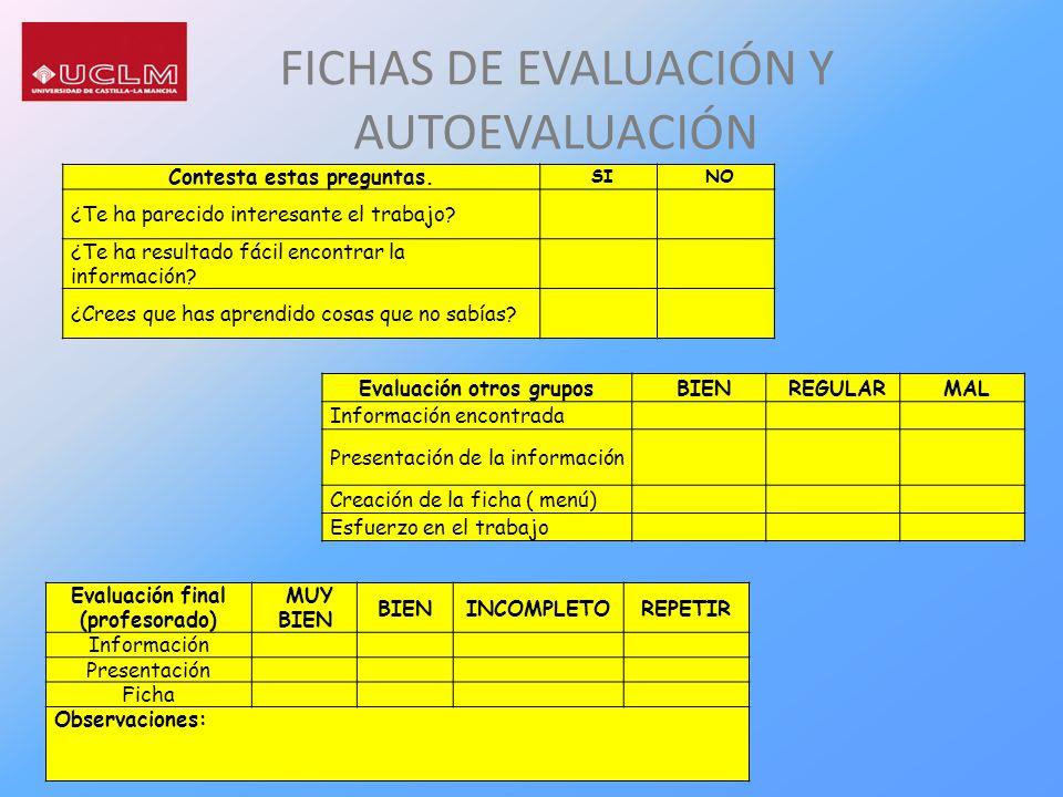 FICHAS DE EVALUACIÓN Y AUTOEVALUACIÓN