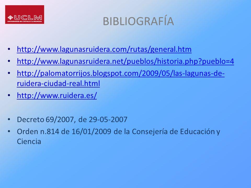 BIBLIOGRAFÍA http://www.lagunasruidera.com/rutas/general.htm