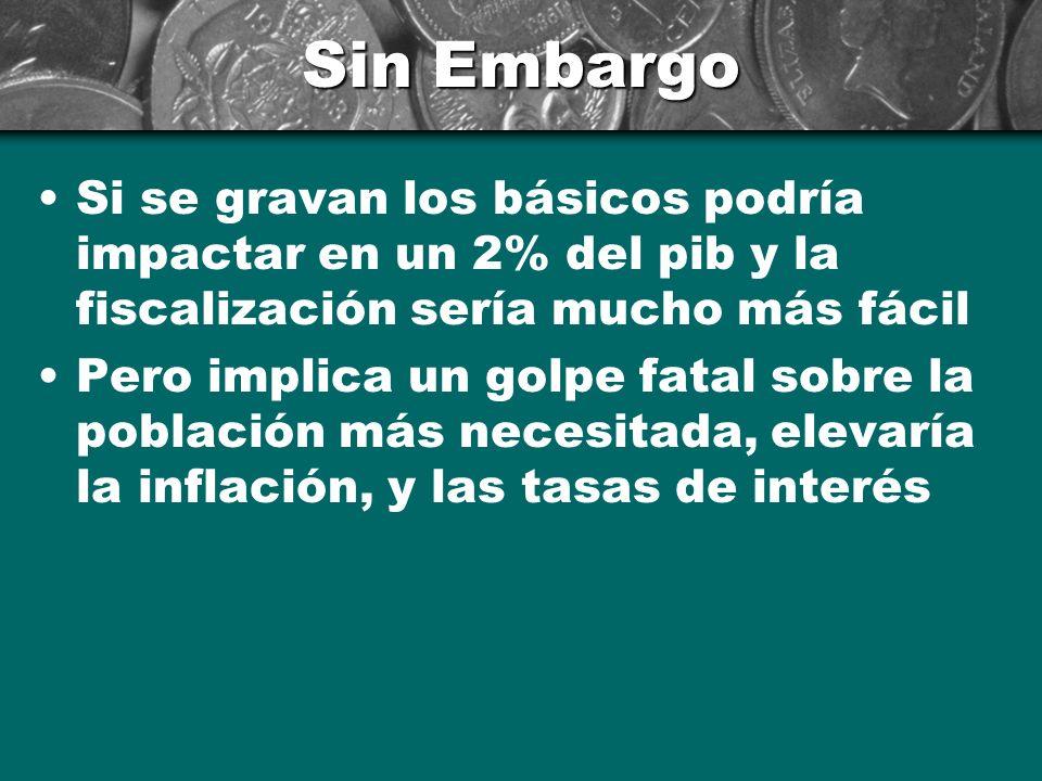Sin Embargo Si se gravan los básicos podría impactar en un 2% del pib y la fiscalización sería mucho más fácil.