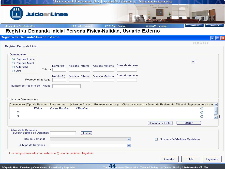 44 Registrar Demanda Inicial Persona Física-Nulidad, Usuario Externo