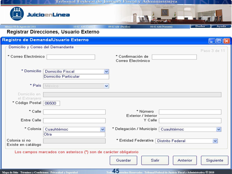 45 Registrar Direcciones, Usuario Externo
