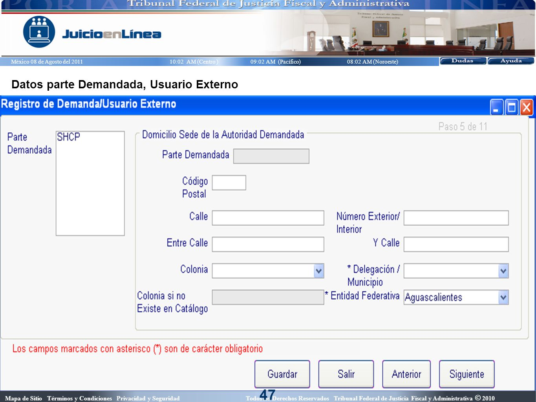 47 Datos parte Demandada, Usuario Externo