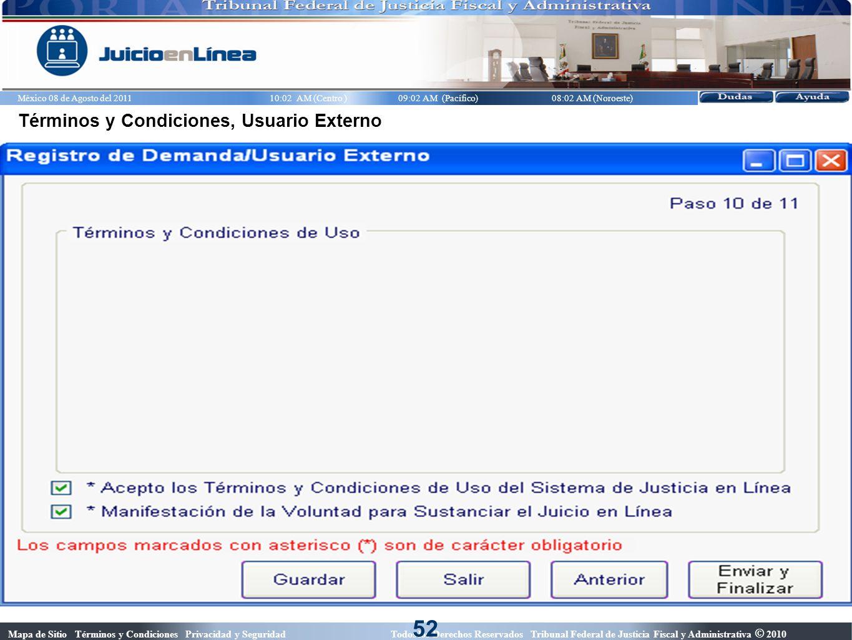 52 Términos y Condiciones, Usuario Externo