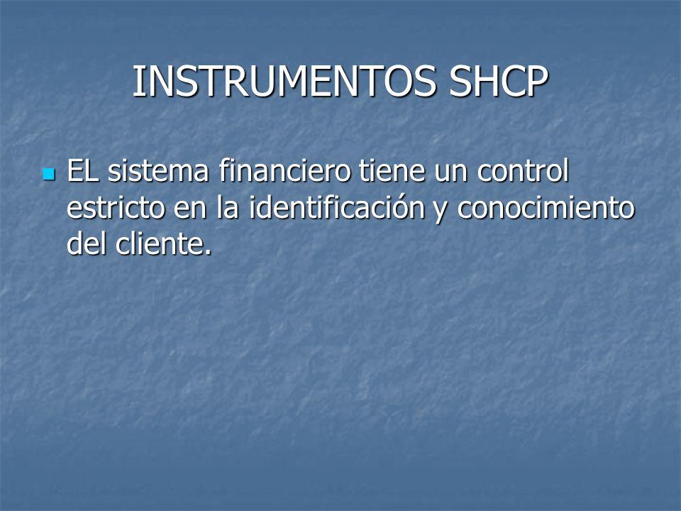 INSTRUMENTOS SHCP EL sistema financiero tiene un control estricto en la identificación y conocimiento del cliente.