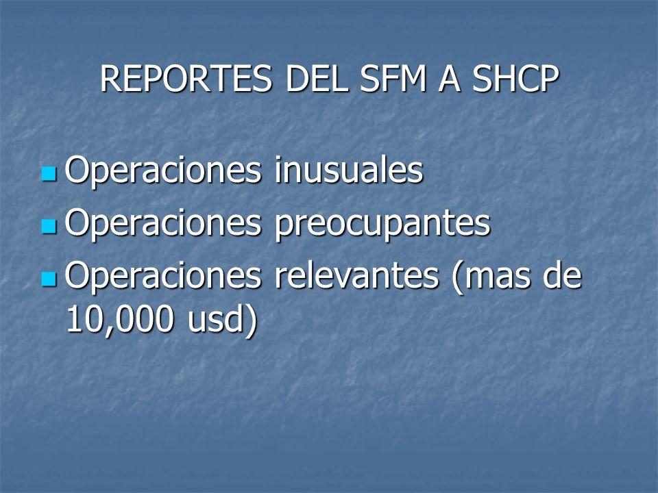 REPORTES DEL SFM A SHCP Operaciones inusuales. Operaciones preocupantes.