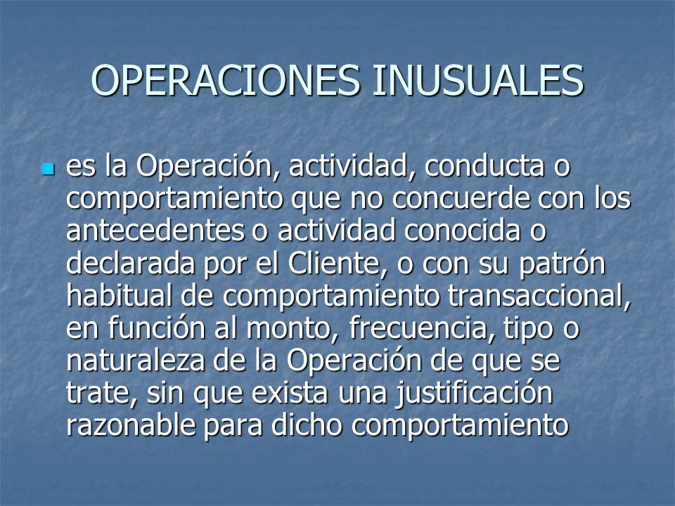 OPERACIONES INUSUALES
