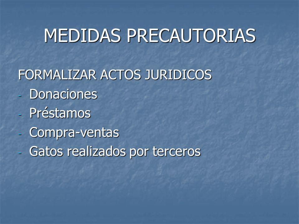 MEDIDAS PRECAUTORIAS FORMALIZAR ACTOS JURIDICOS Donaciones Préstamos