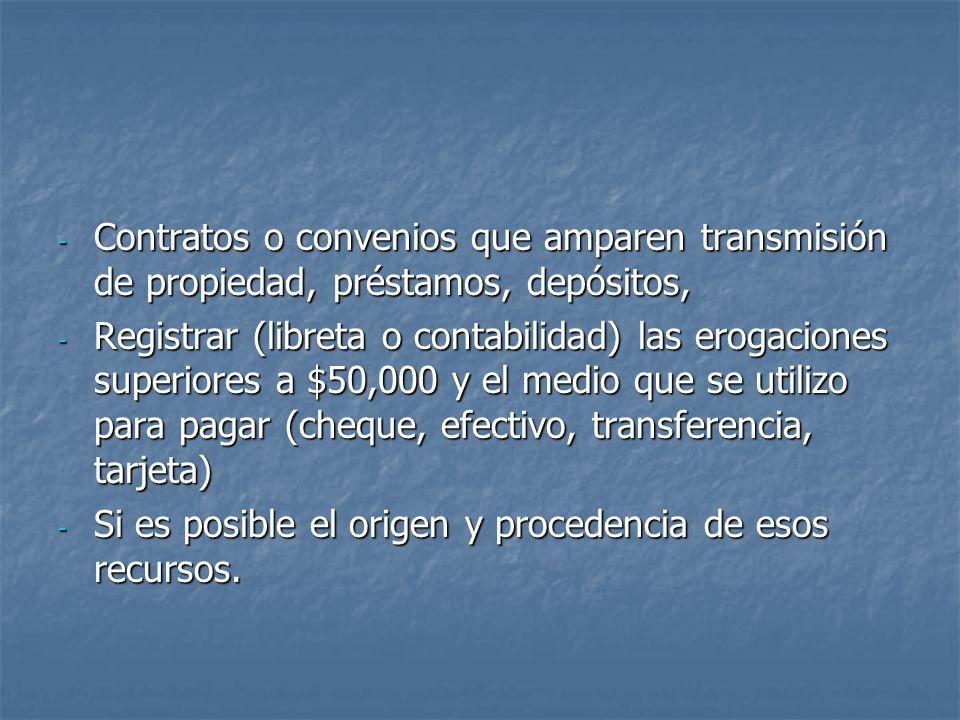 Contratos o convenios que amparen transmisión de propiedad, préstamos, depósitos,