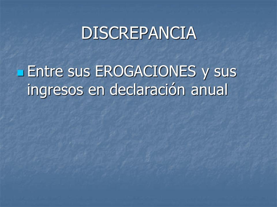 DISCREPANCIA Entre sus EROGACIONES y sus ingresos en declaración anual