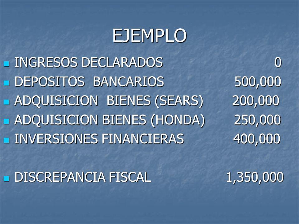 EJEMPLO INGRESOS DECLARADOS 0 DEPOSITOS BANCARIOS 500,000