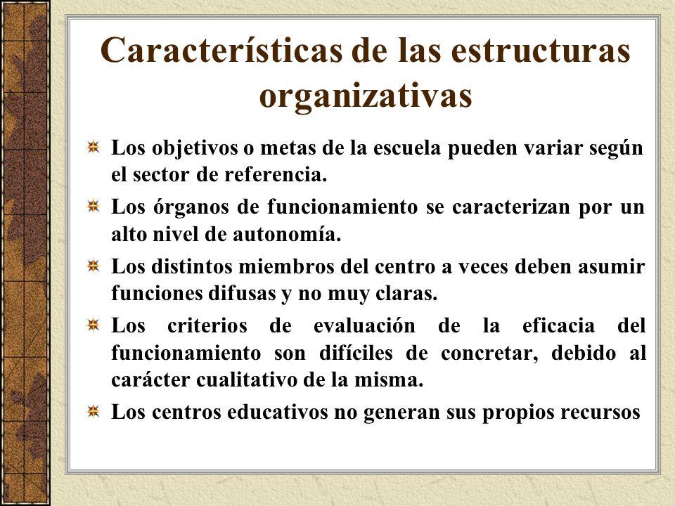 Características de las estructuras organizativas
