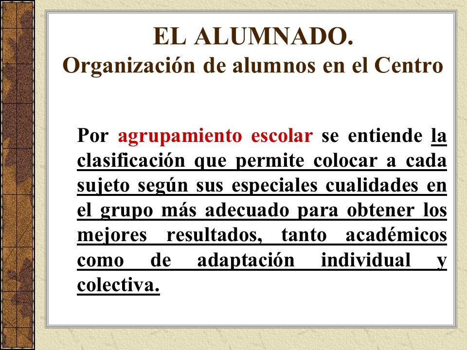 EL ALUMNADO. Organización de alumnos en el Centro