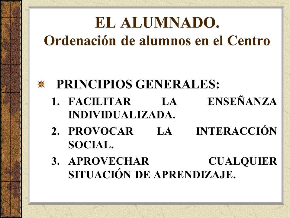 EL ALUMNADO. Ordenación de alumnos en el Centro