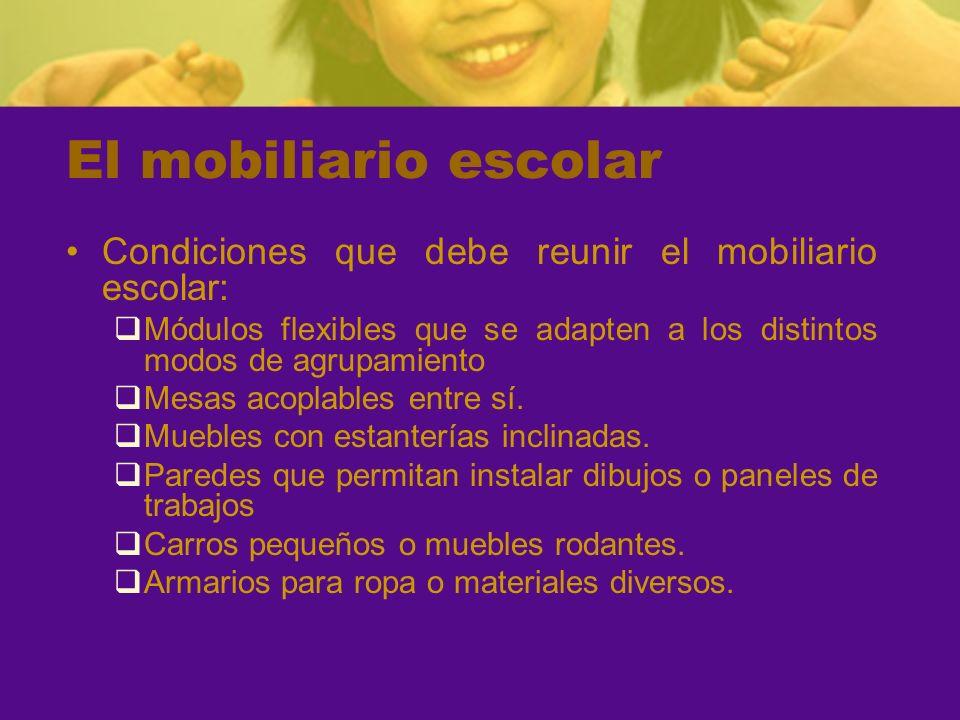 El mobiliario escolarCondiciones que debe reunir el mobiliario escolar: Módulos flexibles que se adapten a los distintos modos de agrupamiento.