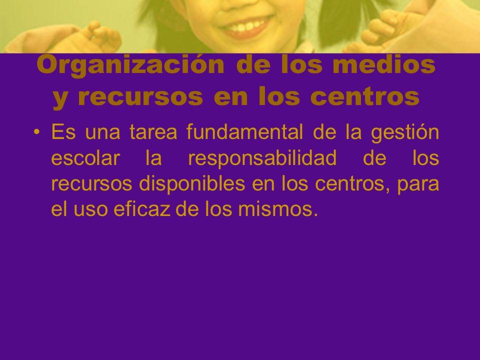 Organización de los medios y recursos en los centros