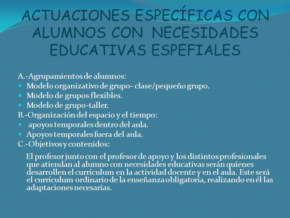 ACTUACIONES ESPECÍFICAS CON ALUMNOS CON NECESIDADES EDUCATIVAS ESPEFIALES
