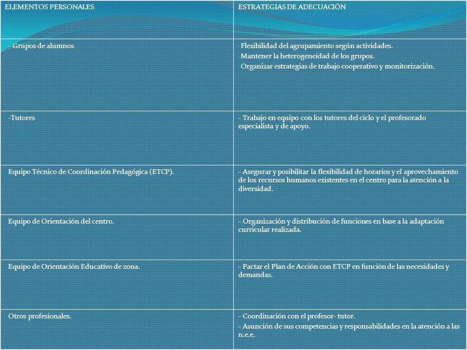 ELEMENTOS PERSONALES ESTRATEGIAS DE ADECUACIÓN. - Grupos de alumnos. Flexibilidad del agrupamiento según actividades.