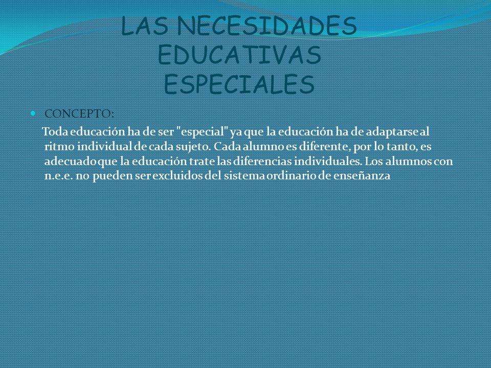 LAS NECESIDADES EDUCATIVAS ESPECIALES