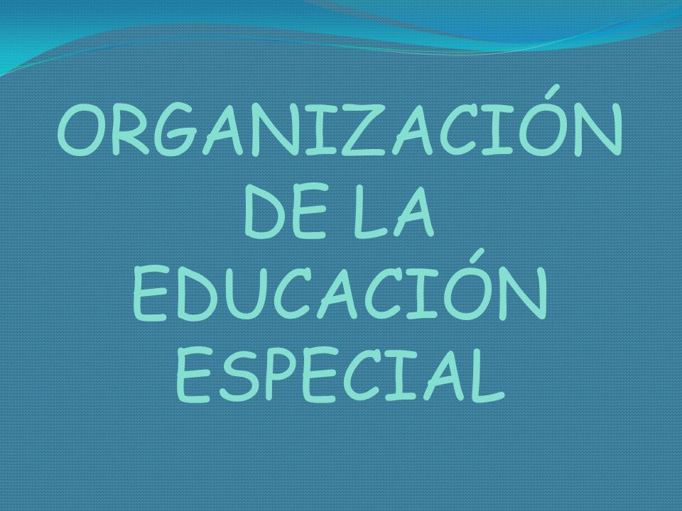 ORGANIZACIÓN DE LA EDUCACIÓN ESPECIAL