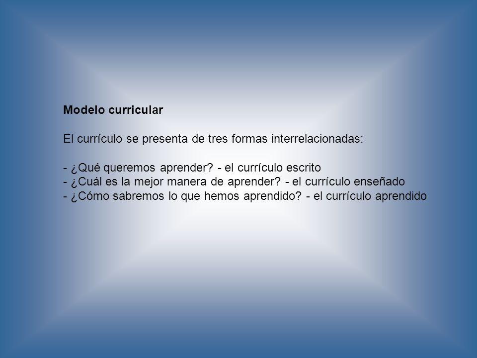 Modelo curricular El currículo se presenta de tres formas interrelacionadas: - ¿Qué queremos aprender - el currículo escrito.