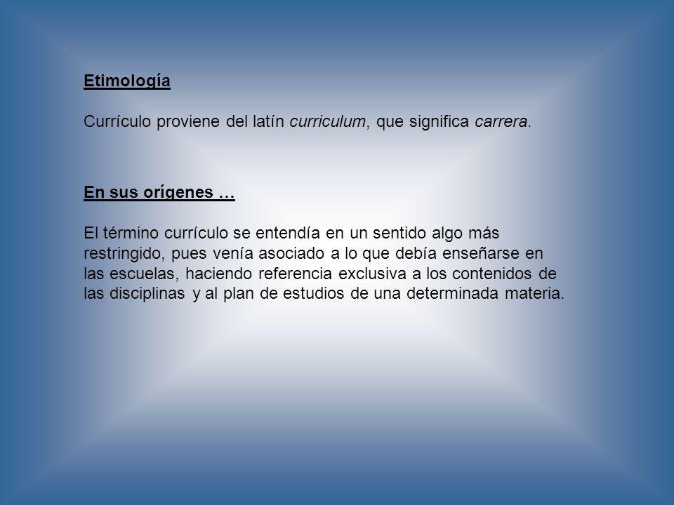 Etimología Currículo proviene del latín curriculum, que significa carrera. En sus orígenes …