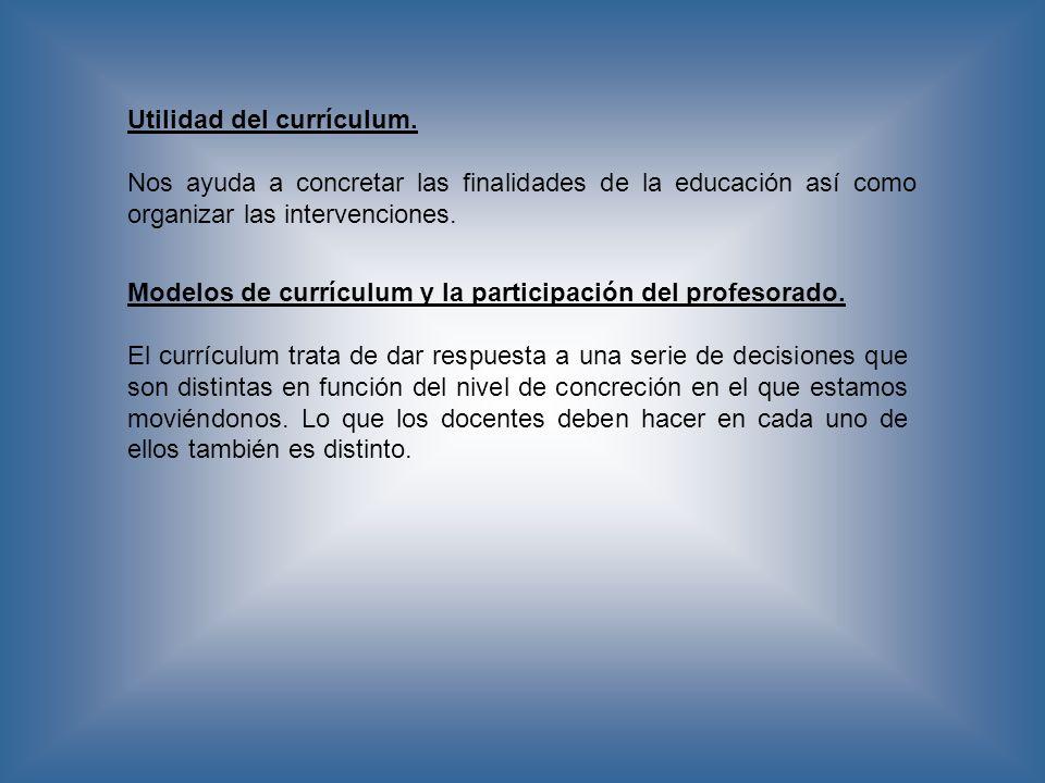 Utilidad del currículum.