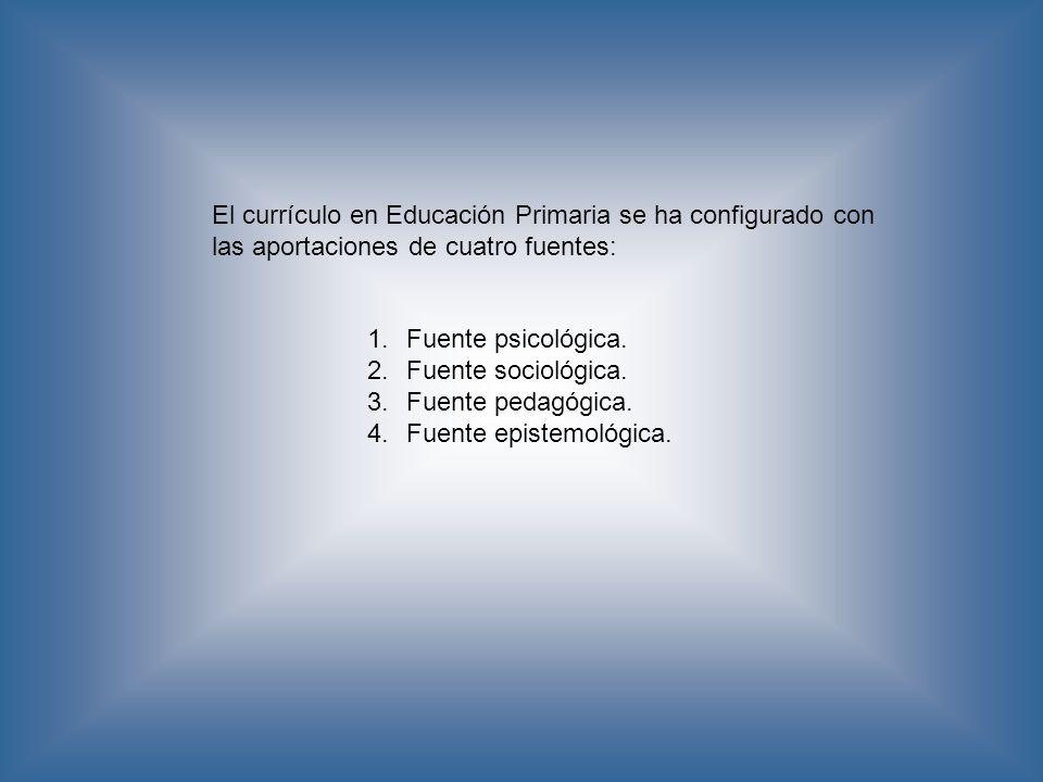 El currículo en Educación Primaria se ha configurado con las aportaciones de cuatro fuentes: