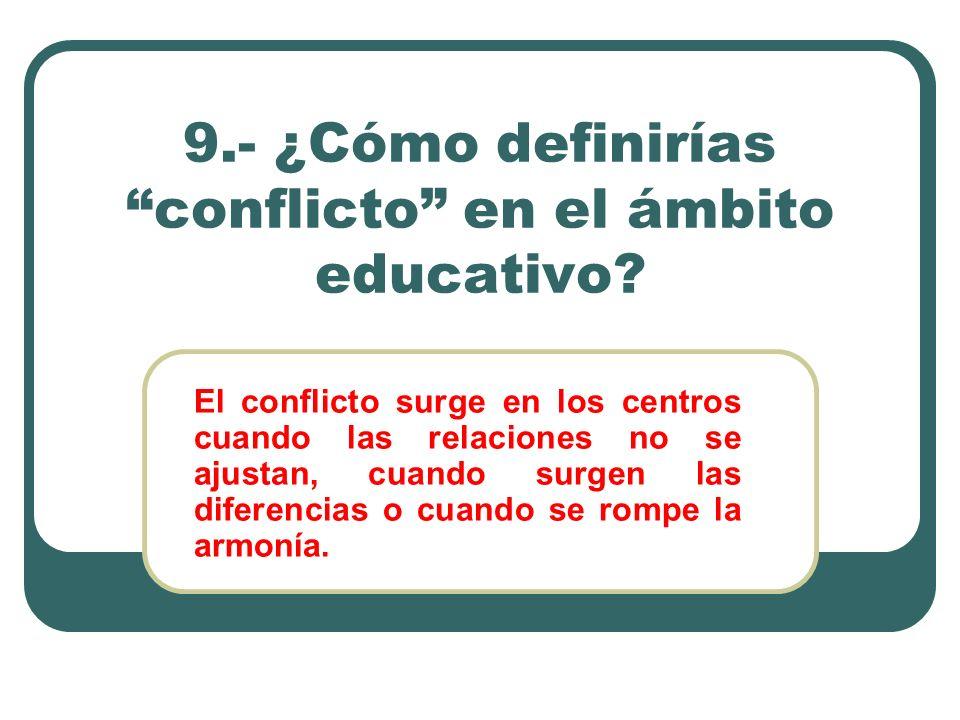 9.- ¿Cómo definirías conflicto en el ámbito educativo