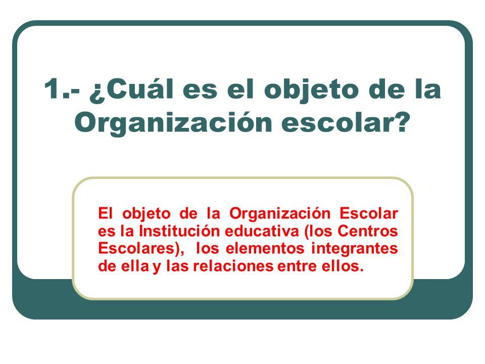 1.- ¿Cuál es el objeto de la Organización escolar