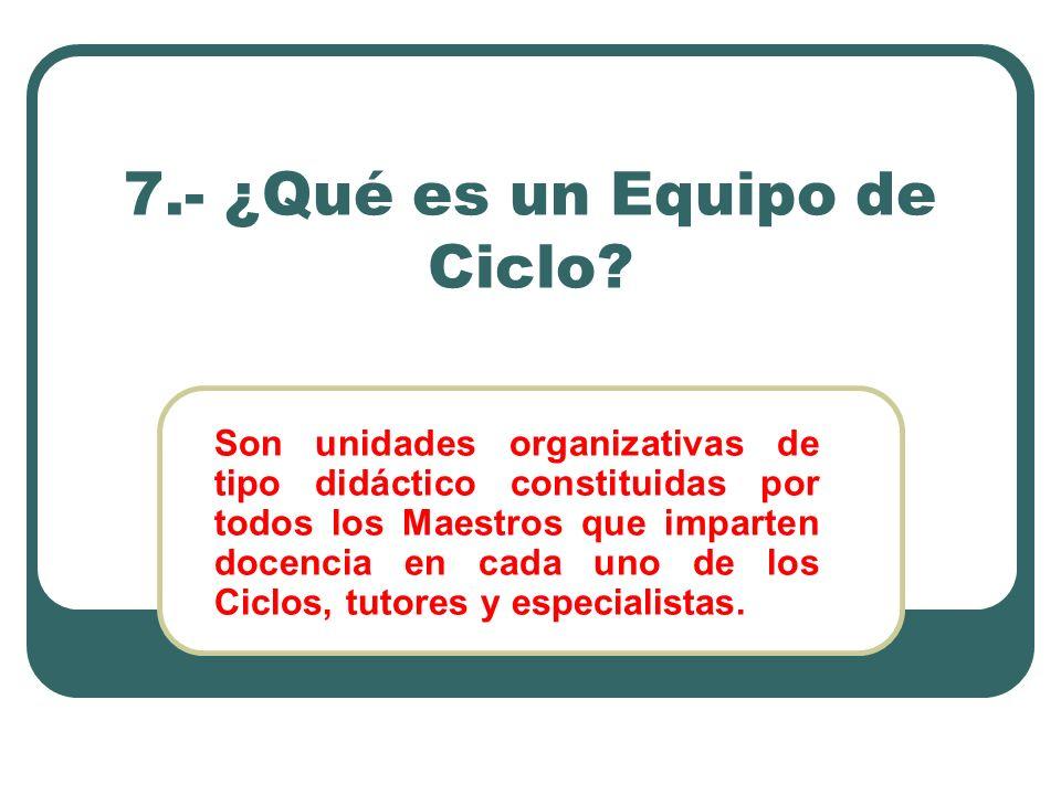 7.- ¿Qué es un Equipo de Ciclo